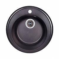 Кухонная гранитная мойка Fosto круглая - (Ø510 мм, глубина 175 мм), 1 чаша, цвет черный