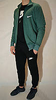 Мужской спортивный костюм Nike (Найк) | трикотаж, двухнитка, размеры: 44-54, цвет: зеленый/черный