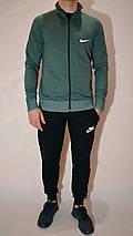 Мужской спортивный костюм Nike (Найк) | трикотаж, двухнитка, размеры: 44-54, цвет: зеленый/черный, фото 2