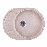 Кухонная гранитная мойка Fosto овальная - (580x450 мм, глубина 165 мм), 1 чаша, цвет песочный
