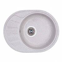 Кухонная гранитная мойка Fosto овальная - (580x450 мм, глубина 165 мм), 1 чаша, цвет серебристый