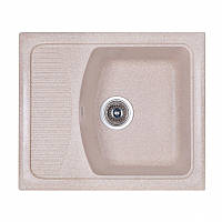 Кухонная гранитная мойка Fosto прямоугольная - (580x500 мм, глубина 178 мм), 1 чаша, цвет песочный
