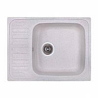 Кухонная гранитная мойка Fosto прямоугольная -(640x490 мм, глубина 160 мм), 1 чаша, цвет серебристый
