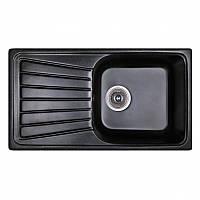 Кухонная гранитная мойка Fosto прямоугольная - (810x460 мм, глубина 175 мм), 1 чаша, цвет черный