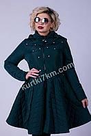 Пальто-платье стеганное с капюшоном 869