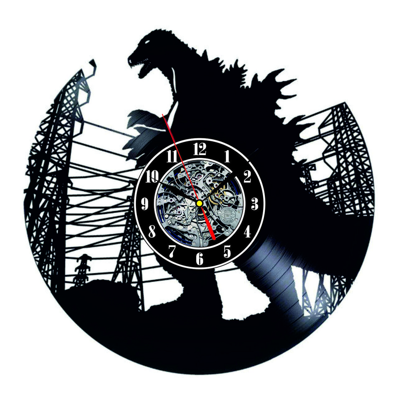 Настенные часы из виниловых пластинок LikeMark Godzilla