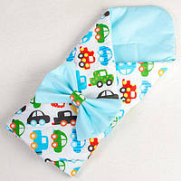 Конверт - одеяло на выписку демисезонный BabySoon Разноцветные автомобили 80 х 85см бирюзовый, фото 1