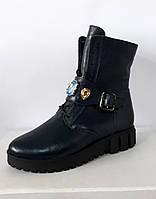 Женские ботинки на шнурках, кожа флотар