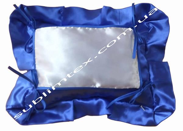 Подушка, натуральный наполнитель, с накладной вставкой на завязках для печати,размер 35х45см., цвет синий, фото 2