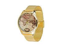 """Часы наручные """"Карта"""", браслет из нержавеющей стали, золотой"""