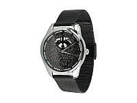 """Часы наручные """"Енот"""", браслет из нержавеющей стали, черный"""
