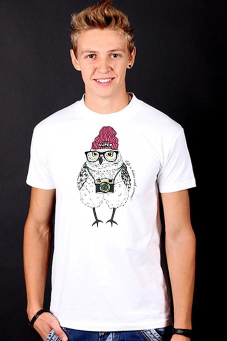"""Біла футболка чоловіча з Совою """"Owl"""" з принтом спортивна бавовна"""
