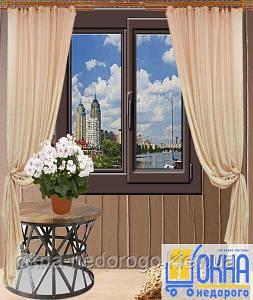 Двухстворчатые ламинированные окна снаружи /1100х1400/
