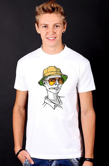 """Біла футболка чоловіча з принтом """"Jonny"""" спортивна бавовна"""