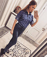 Хлопковая женская рубашка с принтом и карманами