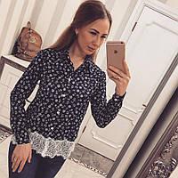Женская рубашка  принт: креп-шифон +дорогое кружево