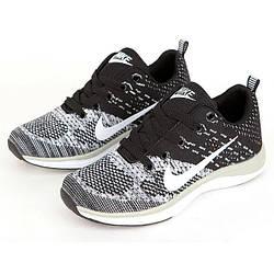 Кроссовки Nike Flyknit Lunar Black Gray Серые женские реплика