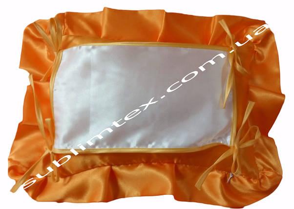 Подушка, искусственный наполнитель, с накладной вставкой на завязках для печати,размер 35х45см.,цвет персиковы, фото 2