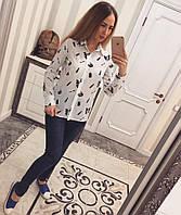 Женская шифоновая блузка с принтом