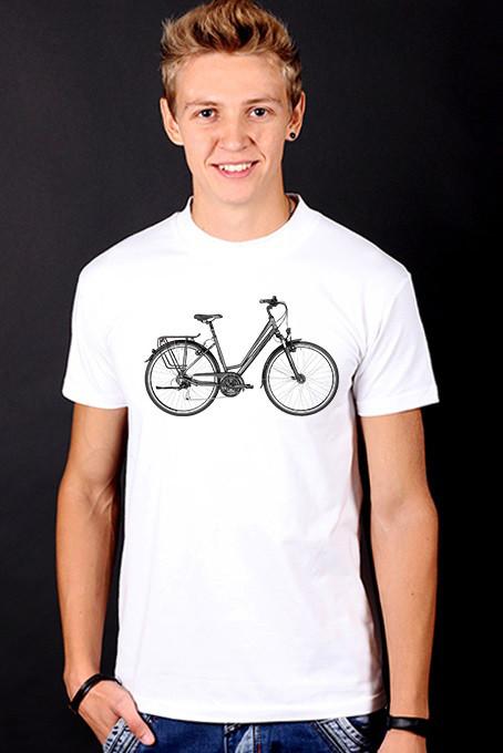 Белая футболка мужская с принтом спортивная хлопок