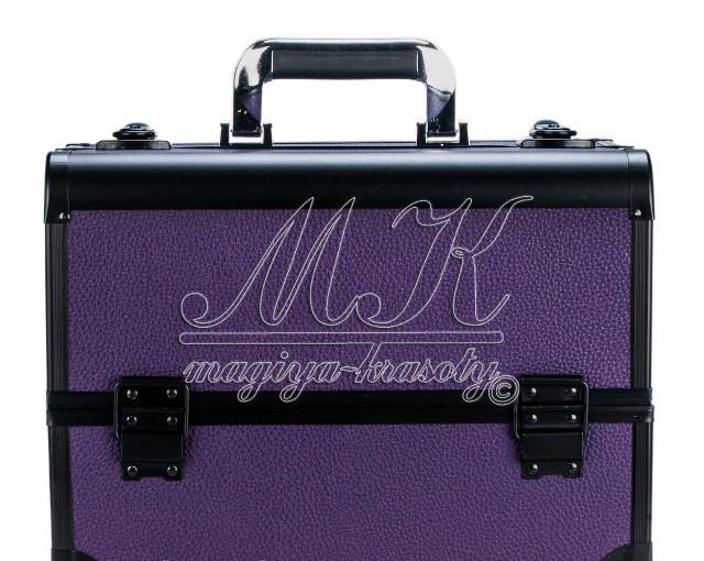 """Профессиональный алюминиевый кейс для косметики """"Exclusive Series"""", фиолетовый с черным"""