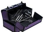 """Профессиональный алюминиевый кейс для косметики """"Exclusive Series"""", фиолетовый с черным, фото 5"""