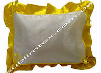 Подушка, натуральный наполнитель, с накладной вставкой на завязках для печати,размер 40х50см., цвет желтый
