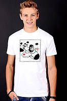Белая футболка мужская с принтом Летчикспортивнаяхлопок