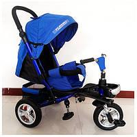 Велосипед M 3647A-14 три кол.резина (12/10),колясочн,сиденье лежа,корз,син.индиго