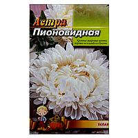 Астра Белая пионовидная семена цветы, большой пакет 3г