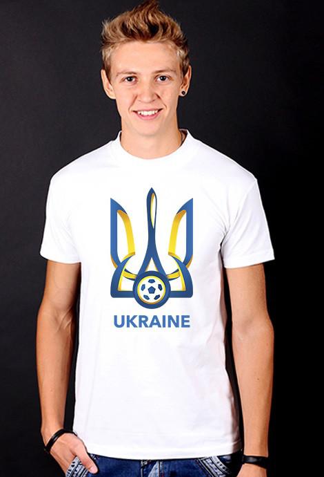 """Біла футболка чоловіча Тризуб """"Ukraine Football"""" з принтом патріотична бавовна"""