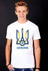 """Белая футболка мужская Трезубец """"Ukraine Football"""" с принтом патриотическаяхлопок"""