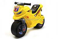 Детский Мотоцикл толокар Орион (желтый). Популярный транспорт для детей от 2х лет