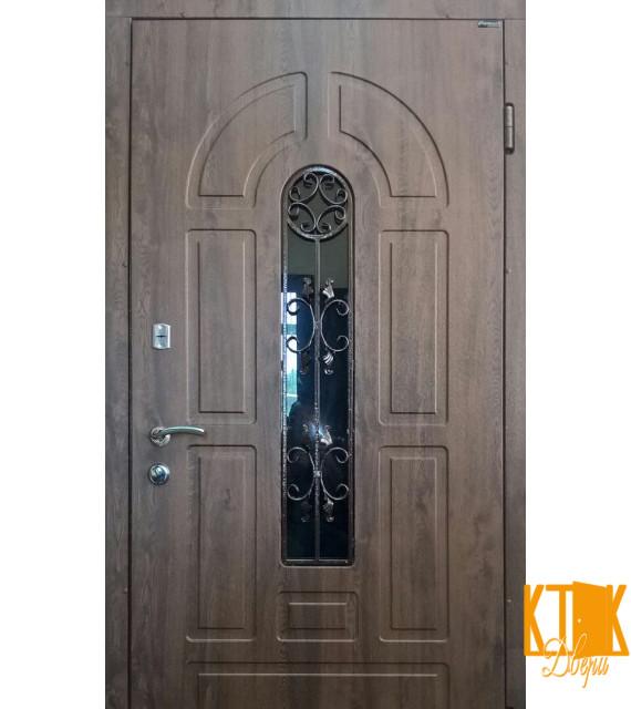 """Уличная дверь серии Элегант (СТЕКЛОПАКЕТ + КОВКА) """"Модель №4"""" (тёмный орех)"""