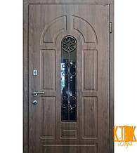 """Вулична двері серії Елегант (СКЛОПАКЕТ + КОВКА) """"Модель №4"""" (темний горіх)"""