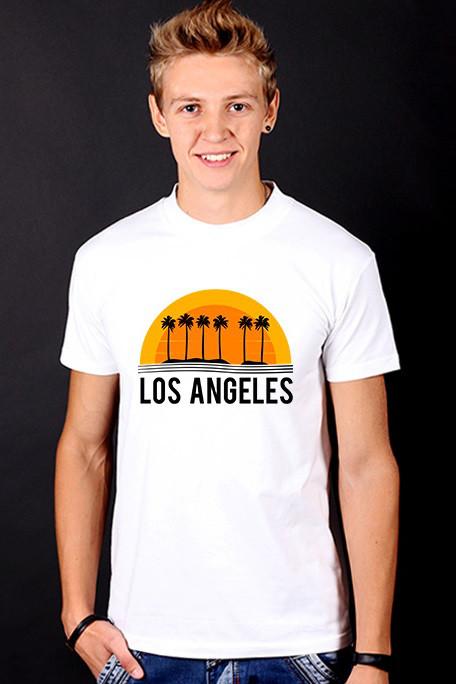 Біла футболка чоловіча з принтом Los Angeles спортивна бавовна