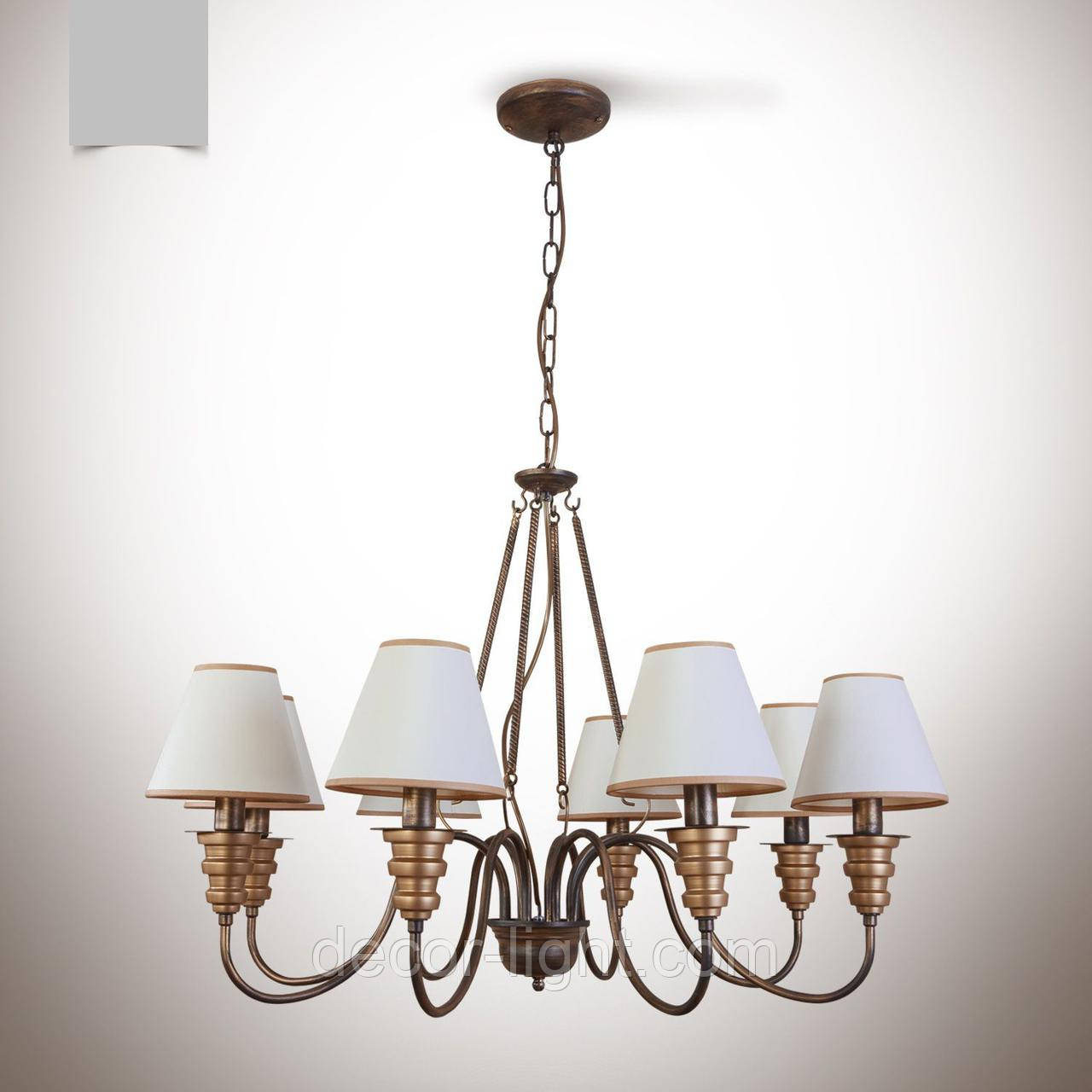 Люстра классическая с абажурами 8-ми ламповая для зала, спальни  12633