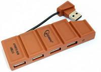 USB хаб 4 порта Gembird UH-005, шоколад