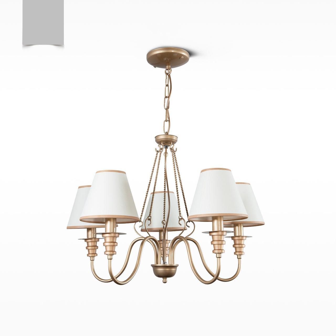 Люстра 5-ти ламповая с абажурами для зала, спальни 12355-3