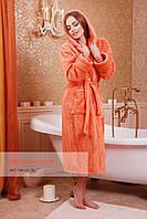 Длинный махровый халат на запах для дома