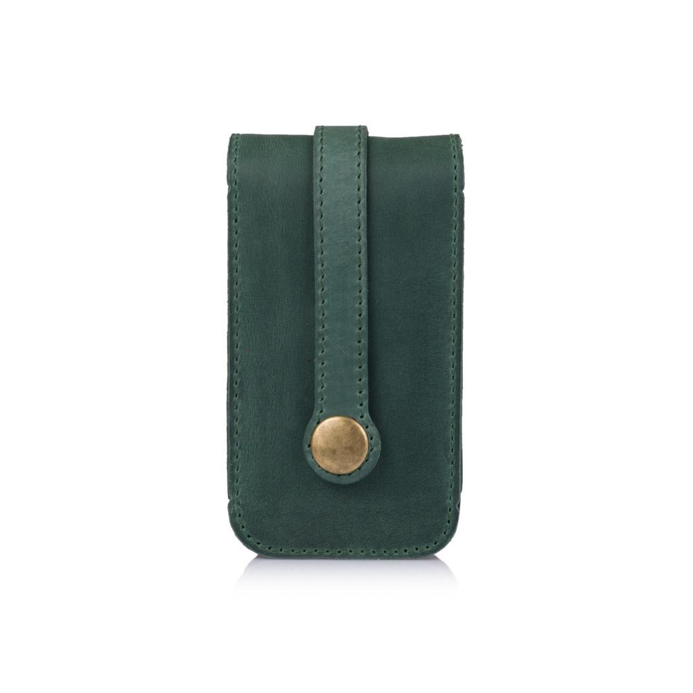 Кожаная ключница зеленого цвета