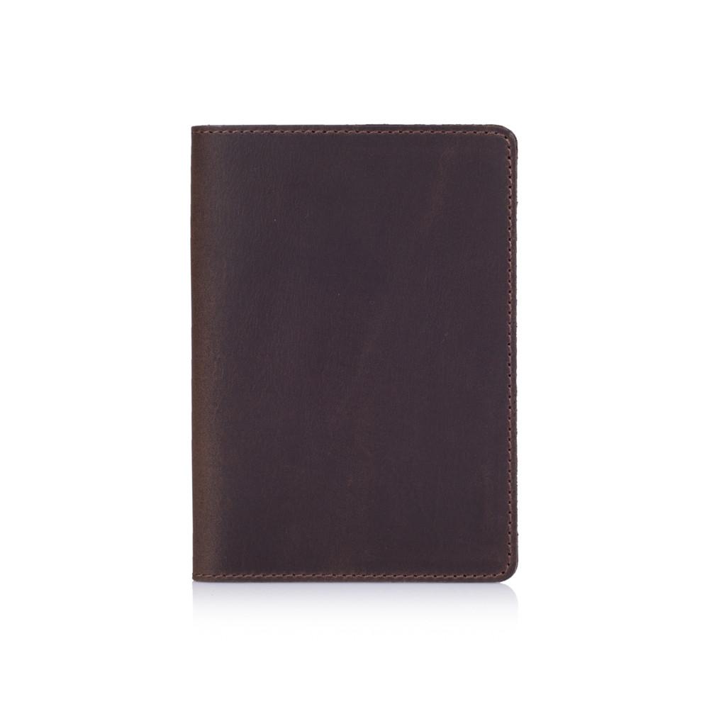 Обкладинка для паспорта з натуральної матової шкіри коричневого кольору