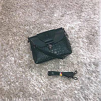 Брендовая маленькая сумка зеленая натуральная кожа