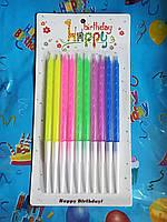 Свечи в торт Цветные 10 шт