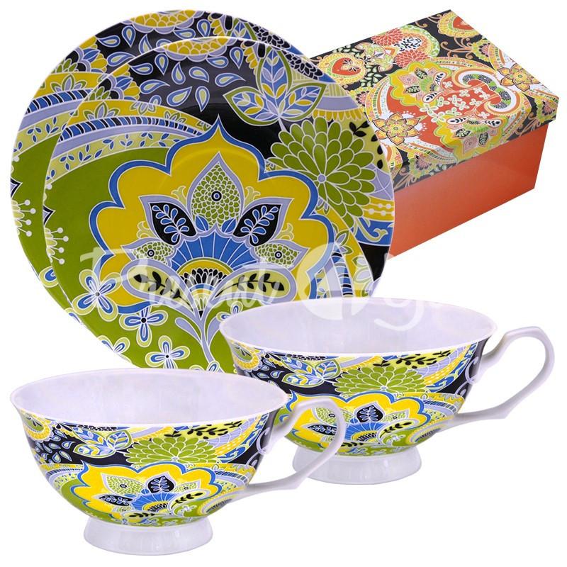 Чайный набор фарфор «Окрыление» : 2 чашки на 200 мл. с блюдцами