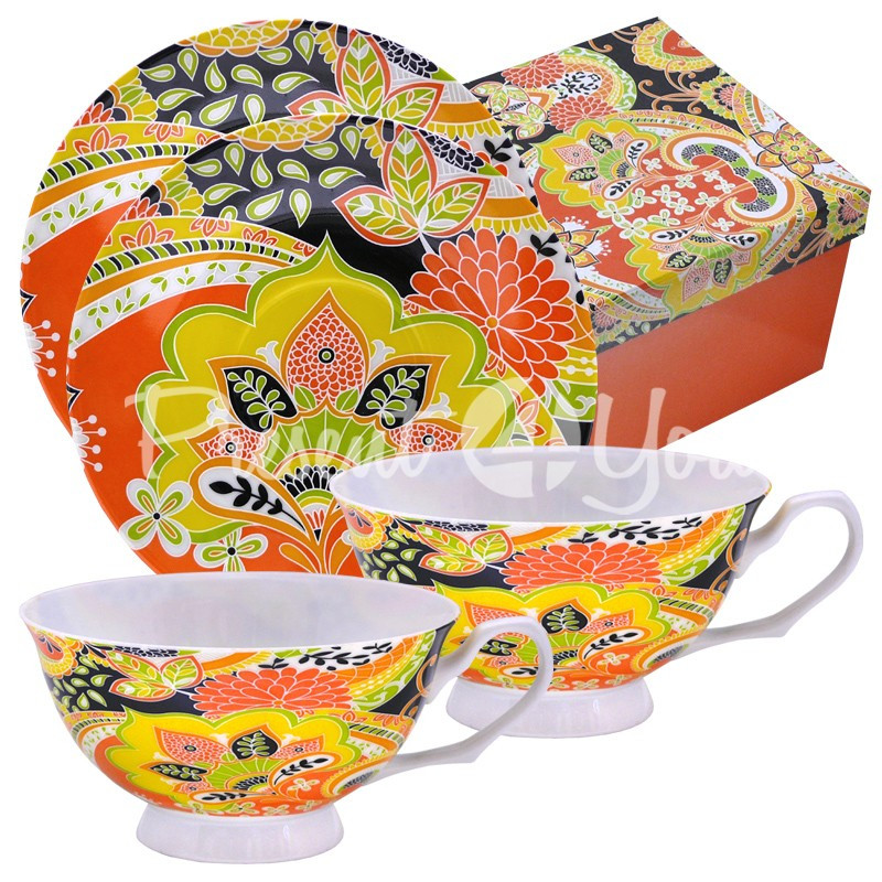 Чайный набор фарфор «Увлечение» : 2 чашки на 200 мл. с блюдцами