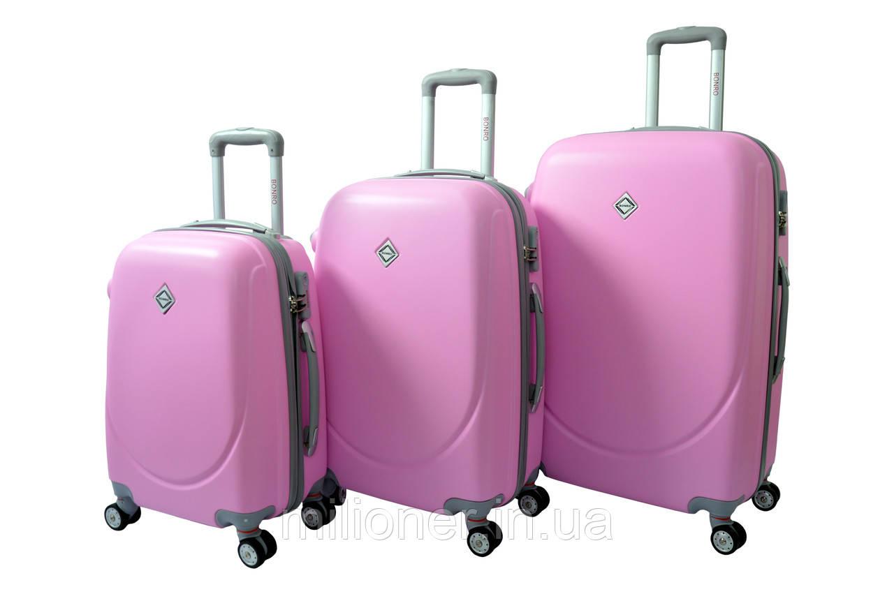 Чемодан Bonro Smile с двойными колесами набор 3 штуки розовый