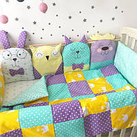 """Комплект в кроватку """"Фиолетово-мятно-желтые зверушки"""""""