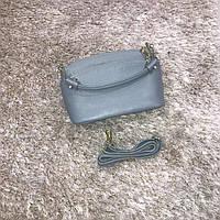 Брендовая маленькая сумка голубая натуральная кожа
