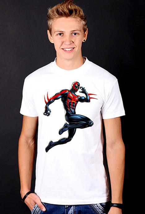 """Белая футболка мужская с принтом """"Spider man"""" Спайдер спортивная хлопок"""